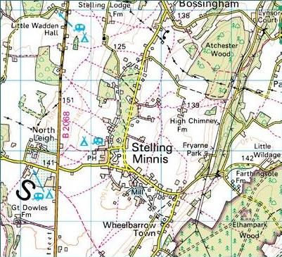 Ordnance survey map of Stelling Minnis area